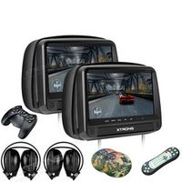XTRONS Monitors 2pcs 9 inch HD Digital Panel Leather Cover Car Headrest DVD Players