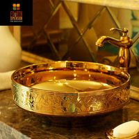 Golden Engraved Artistic Porcelain Countertop and Semi Counter Sink Washbasin Ceramic Bathroom Sink