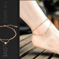 Summer Style Charming Heart Pendant Two Chains Golden Anklet Ankle Bracelet Foot Jewelry Barefoot Sandals Anklets For women