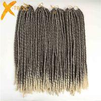 "20"" Faux Locs Synthetic Braiding Hair Extensions Heat Resistant Mix Color T4/613 X-TRESS Ombre Crochet Braids 20strands/pack"