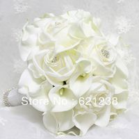 EMS Free Shipping,Bride holding white calla flower, calla lily wedding bouquets and roses combined Diamond Jewelry embellishment