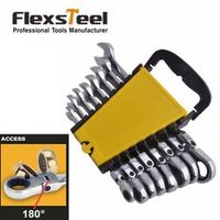 Flexsteel 8PC Flexible Head Ratcheting Combination Wrench Spanner Set Metric 8 10
