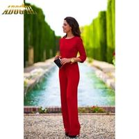 Adogirl Autumn Red Women Sexy Backless Three Quater Long