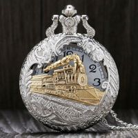 YISUYA Vintage Silver Charming Gold Quartz Pocket Watch