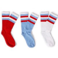 Gosha Rubchinskiy Socks Men Hip hop Fashion Socks Russia Chinese Flag Red Blue White Contrast Color Stripe Knit Women Long Socks
