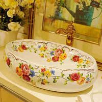 Rose Oval Chinese Ceramic Art Basin Sink Counter Top Wash Basin Bathroom Vessel Sinks vanities ceramic wash basin