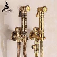 Free Shipping! Modern Golden Brass Bathroom Bidet Faucet Exquisite Carved With Hand Sprayer Gun 8891