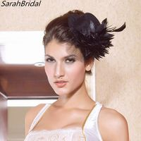 sarahbridal Women Black Party Cocktail Bridal Feather