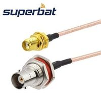 Superbat BNC nut bulkhead to SMA female jack RG316 15cm rf coaxial jumper cable