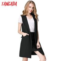 Tangada Fashion Sleeveless Jackets Vests For Women Black 2016 Office Lady Elegant Long Outerwear Casual brand colete feminino