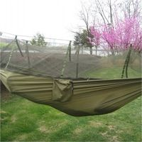 Portable Indoor Outdoor Hammock for Backpacking Camping Hanging Bed With Mosquito Net Sleeping Hammock  Army Green Free Shipping