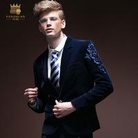 Slim bleiser masculino baroque style royal wind 2017 new men autumn design floral embroidered blue formal casual blazer blaser