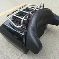 Black Trunk Tail Box Luggage With Top Rack Backrest For Honda Shadow Spirit Sabre Aero ACE Steed VLX 400 600 1100 DLX VTX1300