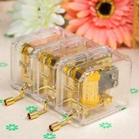 1pc 10 Songs Hand Crank Acrylic Music Box For Kids Girls