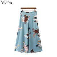 Vadim women vintage floral wide leg pants side zipper European style ladies casual loose trousers pantalones mujer KZ975