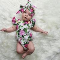 Floral Newborn Baby Girl Clothing Body Tops Onion Headband Flower Overalls Clothes Girls Dresses Baby's Beach Suit DBR027