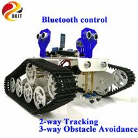 Official DOIT Bluetooth Control 2-way Tracking 3-way Ultrasonic Obstacle Avoidance Smart Arduino Car kit with Arduino UNO R3 DIY