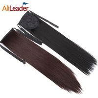 AliLeader 18 Inch Long Blonde Ponytail Hair Extension Clip In Pony High Ponytail For Short Hair Fake Hair Ponytail For Women