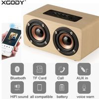 XGODY W5 Wooden HIFI Shock Bluetooth Sound Amplifier Speaker for Mobile Phone