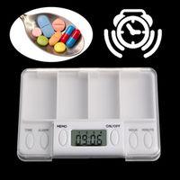 Pills Reminder Medicine Alarm Electronic Timer Box Case Organizer 4 Grid
