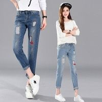 6 Extra Large Ankle-Length Pants Embroidery Woman