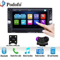 "Podofo 2 Din 6.6"" LCD Touch screen Car audio 12v auto radio player with bluetooth"