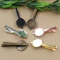 Cabochon 10pcs 16mm,18mm,20mm Pad Tray Dull Silver/Gold/Black/Antique Bronze Color Nickel lead-free Mens' Classic Tie Clips