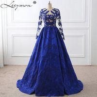 Leeymon Royal Blue Lace Appliques Celebrity Dress