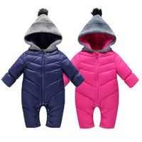 2017 Spring Baby Thick Warm Rompers Pink Coverall Hooded Romper Jumpsuit Baby Girl Boy Snowsuit Coat Children Outfits Baby Wear