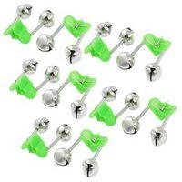 Olago 10 Pcs Green Spring Loaded Clip Double Fishing Rod Alarm Bells