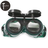"1Pcs Goggles 2"" Dark Green Round Flip Up Lenses Welding Goggles PVC Helmet Welder Glasses Safety Protective Eyewear"