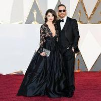 Black Plunging Neck Long Sleeve Lace Red Carpet Dresses Golden Globe Academy Awards 2017 Oscar robe celebrity tapis rouge CE5