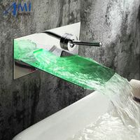 Amibronze waterpower RGB LED Wall mounted waterfall brass Faucet Bathroom sink basin
