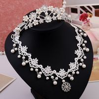 Korean wedding accessories rhinestone tiara pearl necklace fabric piece suit hot new wholesale online