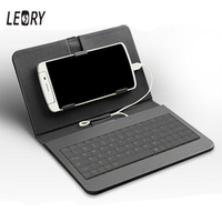 LEORY General Wired Mobile Phone Keypads Keyboard Leather Flip Holster Skin Case