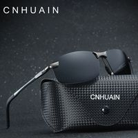 CNHUAIN Aluminum Magnesium Men's Sunglasses Polarized Brand Classic Sun Glasses For Men Driver Driving Glasses Male Black 2016