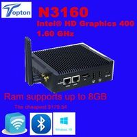 EGLOBAL Topton Mini PC Windows 10 Intel V7 N3160 Fanless Barebone Computer 2 Lan HDMI