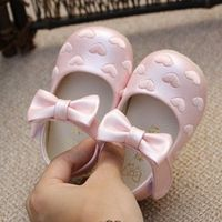 New Spring Autumn 2016 Love Embroidery Bow Sweet Princess Baby baby's Toddler Shoes First walkers Girls Leather Shoes