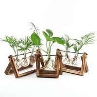 faroot 2018 Creative Wooden Stand Glass Tabletop Vase