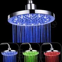 "HNGCHOIGE 8"" inch Round Rain Stainless Steel Bathroom RGB LED Light Shower"