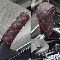 BLUELANS 2Pcs/Set Faux Leather Hand Brake Cover Gear Case Car Interior Decor