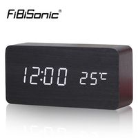 FiBiSonic Alarm with Thermometer Wooden Led Digital