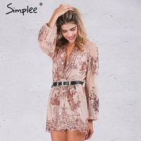 Simplee Autumn Gold sequin embroidery elegant women