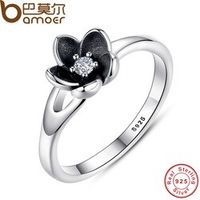BAMOER 2016 New Collection Authentic Mystic Floral Flower Stackable Ring CZ & Black Enamel 925 Sterling Silver Jewelry PA7154