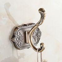 OWOFAN Robe Hooks Single Coat Towel Wall Hanger Antique Carved Luxurious Gold