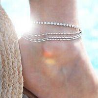 Women Girls Crystal Silver Anklet Ankle Bracelet Foot Chain jewelry