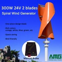 300W 12V/24V Vertical Axis Spiral Residential Mill Turbine Generator Waterproof Wind