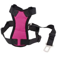 Pet Dog Mesh Harness Safety Strap Vest with Car Seat Belt Lead Clip, Free Size, Rose Red