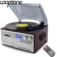 LoopTone 3 Speed Vinyl Record Turntable W/ CD Cassette Player AM/FM Radio USB/SD
