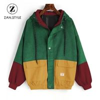 ZAN.STYLE Winter Warm Block Hooded Corduroy Jacket Women